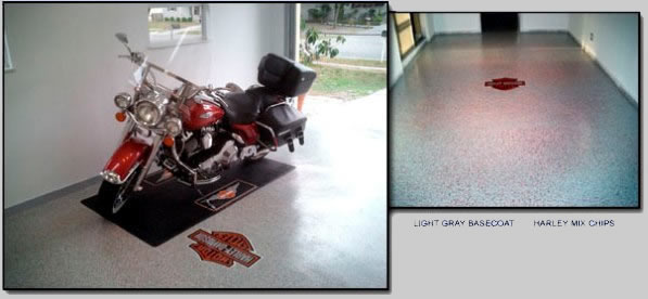 Epoxy Garage Floor Example - Harley Logo